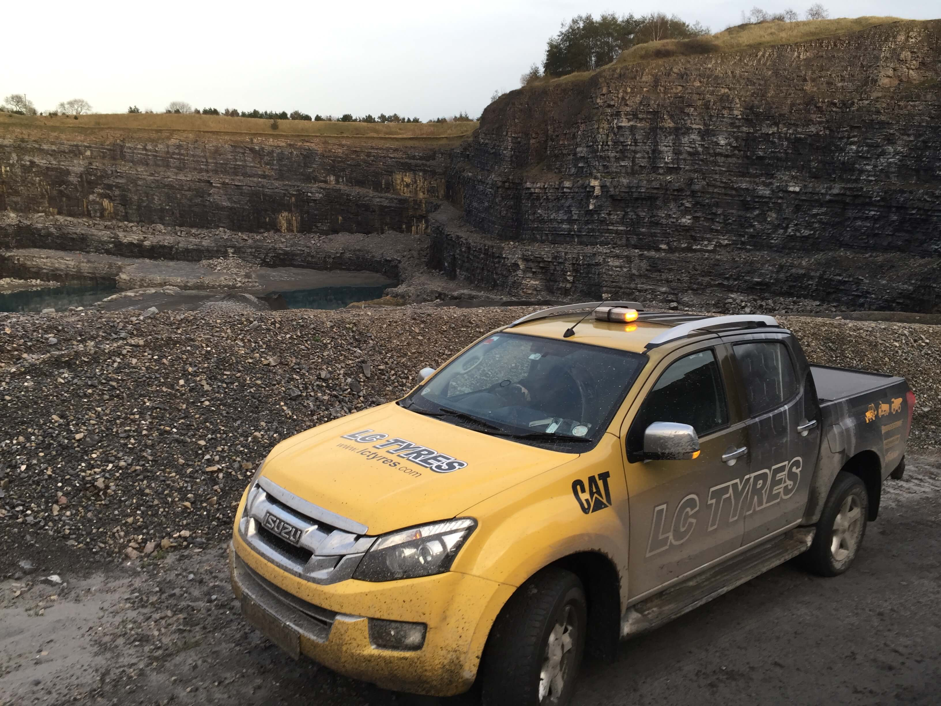LC Tyres in a quarry